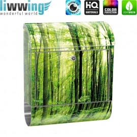 Design XXL Edelstahlbriefkasten mit Wandbefestigung & Zeitungsrolle | Wald Bäume Sonnenstrahlen grün Ruhe | no. 0061