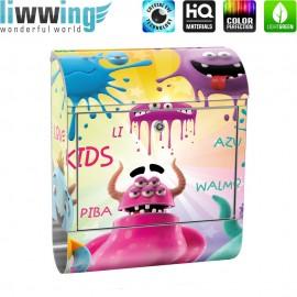 Design XXL Edelstahlbriefkasten mit Wandbefestigung & Zeitungsrolle | Kinderzimmer Kinder Comic Party Knuddel Monster | no. 0092