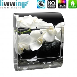 Design XXL Edelstahlbriefkasten mit Wandbefestigung & Zeitungsrolle   Orchidee Blumen Blumenranke Rosa Natur Pflanzen   no. 0097