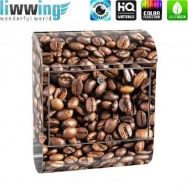 Design XXL Edelstahlbriefkasten mit Wandbefestigung & Zeitungsrolle | Kaffee Kaffeebohnen Braun Aromatisch | no. 0176