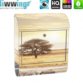 Design XXL Edelstahlbriefkasten mit Wandbefestigung & Zeitungsrolle | Wüste Tiere Zebras Sonnenaufgang Natur | no. 0236