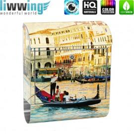Design XXL Edelstahlbriefkasten mit Wandbefestigung & Zeitungsrolle | Venedig Kanal Italien Boot Wasser | no. 0240