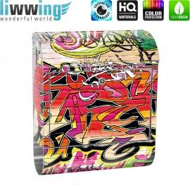 Design XXL Edelstahlbriefkasten mit Wandbefestigung & Zeitungsrolle | Kinderzimmer Graffiti Streetart Sprayer 3D bunt | no. 0220