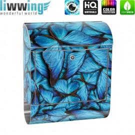 Design XXL Edelstahlbriefkasten mit Wandbefestigung & Zeitungsrolle | Schmetterlinge Tiere Natur Blau | no. 0192