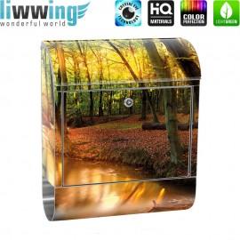 Design XXL Edelstahlbriefkasten mit Wandbefestigung & Zeitungsrolle | Wald Bäume Natur Sonne Wasser | no. 0252