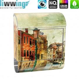 Design XXL Edelstahlbriefkasten mit Wandbefestigung & Zeitungsrolle | Venedig Italien Romantisch Gebäude | no. 0257