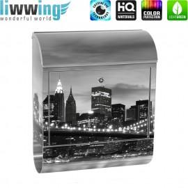 Design XXL Edelstahlbriefkasten mit Wandbefestigung & Zeitungsrolle | New York Bridge Lightning | no. 0269