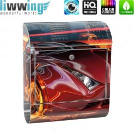 Design XXL Edelstahlbriefkasten mit Wandbefestigung & Zeitungsrolle | Auto Reifen Lightning Jungen Illustration rot | no. 0323