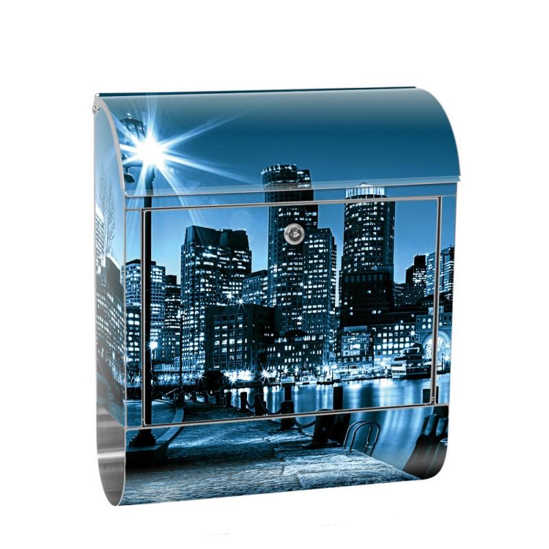Edelstahl Briefkasten   Laterne Nacht New York Skyline Lichter Fluss ...
