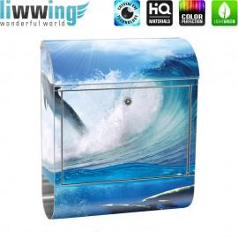 Design XXL Edelstahlbriefkasten mit Wandbefestigung & Zeitungsrolle | Delfin Meer Welle Tropfen Sonne Wasser | no. 0531
