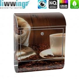 Design XXL Edelstahlbriefkasten mit Wandbefestigung & Zeitungsrolle | Kaffeetasse Kaffeebohnen Tasse Löffel Holz | no. 0866