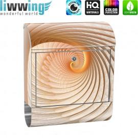 Design XXL Edelstahlbriefkasten mit Wandbefestigung & Zeitungsrolle   Abstrakt Muschel Geflecht Tunnel Spirale 3D   no. 0904