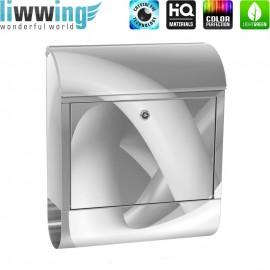 Design XXL Edelstahlbriefkasten mit Wandbefestigung & Zeitungsrolle | Abstrakt Schlingen 3D | no. 0590