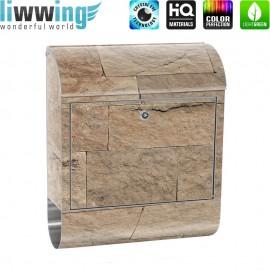 Design XXL Edelstahlbriefkasten mit Wandbefestigung & Zeitungsrolle | Sandstein Stein Mauer braun Steine Stone Stone | no. 4304