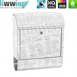 Design XXL Edelstahlbriefkasten mit Wandbefestigung & Zeitungsrolle | Ornamente Schrift Text Hintergrund Büro | no. 0124