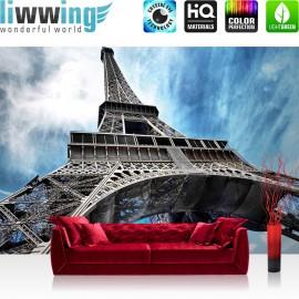 "Vlies Fototapete ""no. 370"" | Frankreich Tapete Eiffelturm Paris Wolken blau Architektur Vintage grau"