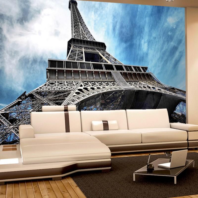 Photo collection wallpapers eiffelturm paris wolken - Fototapete blau ...