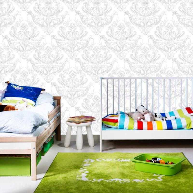 vlies fototapete no 373 ornamente tapete muster wei grau wei. Black Bedroom Furniture Sets. Home Design Ideas