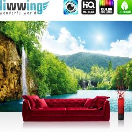 "Vlies Fototapete ""no. 377"" | Wasser Tapete Wasserfall Bäume Meer Himmel Sommer Urlaub blau"