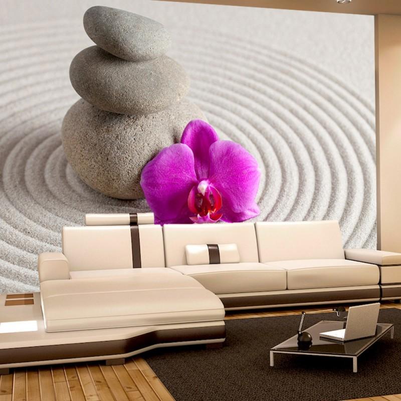 vlies fototapete no 388 orchideen tapete steine sand. Black Bedroom Furniture Sets. Home Design Ideas