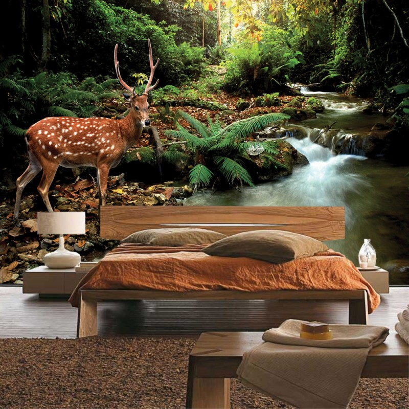 vlies fototapete no 399 tiere tapete wald hirsch. Black Bedroom Furniture Sets. Home Design Ideas
