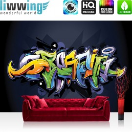 "Vlies Fototapete ""no. 409"" | Graffiti Tapete Kindertapete Malerei bunt Muster Schrift grün"