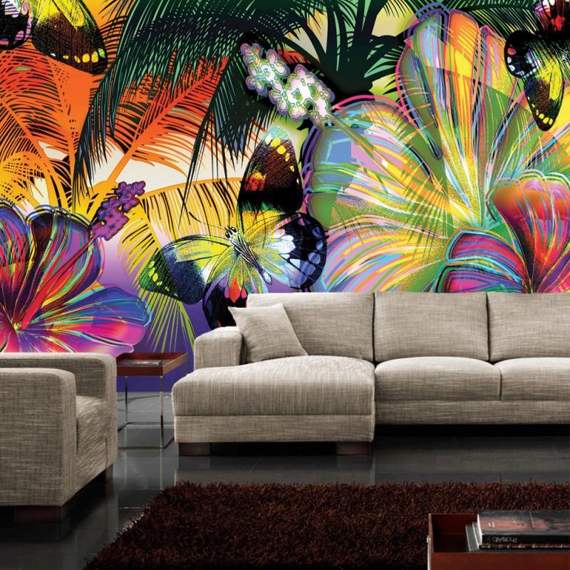 vlies fototapete no 479 kunst tapete abstrakt bl ten. Black Bedroom Furniture Sets. Home Design Ideas