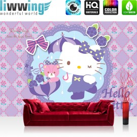 "Vlies Fototapete ""no. 509"" | Mädchen Tapete Sanrio Hello Kitty Kindertapete Cartoon Katze Blumen Schleife lila | liwwing (R)"