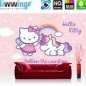 """Vlies Fototapete """"no. 517""""   Mädchen Tapete Sanrio Hello Kitty Kindertapete Cartoon Katze Regenbogen Einhorn rosa   liwwing (R)"""