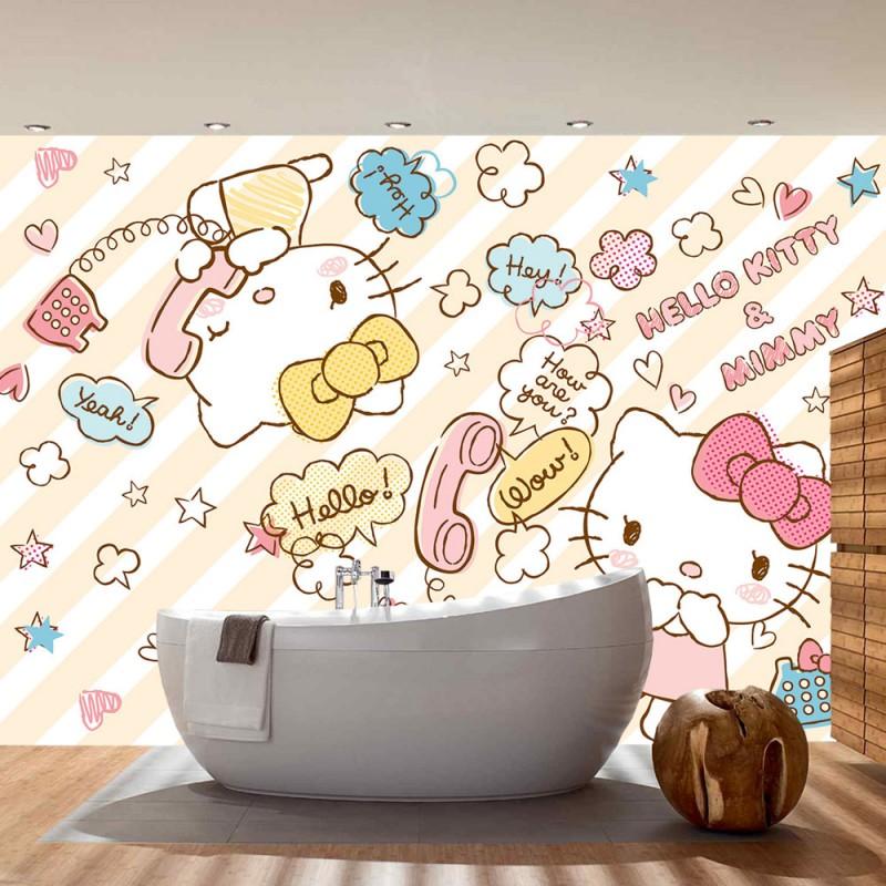 vlies fototapete no 507 m dchen tapete sanrio hello kitty kindertapete cartoon katzen. Black Bedroom Furniture Sets. Home Design Ideas