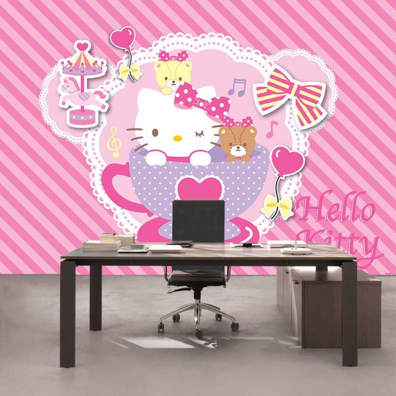 vlies fototapete no 510 m dchen tapete sanrio hello kitty kindertapete cartoon katze. Black Bedroom Furniture Sets. Home Design Ideas
