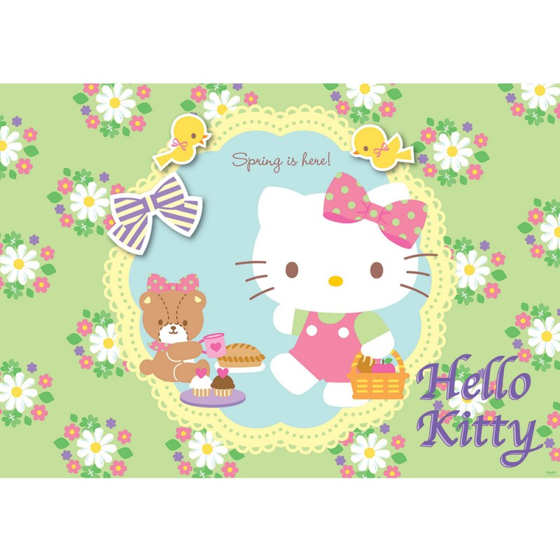 vlies fototapete no 511 m dchen tapete sanrio hello kitty kindertapete cartoon katze blumen. Black Bedroom Furniture Sets. Home Design Ideas