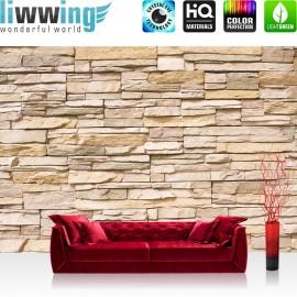 "Vlies Fototapete ""Asian Stone Wall"" | Steinwand Tapete Steinoptik Steine Wand Wall 3D Steintapete beige"