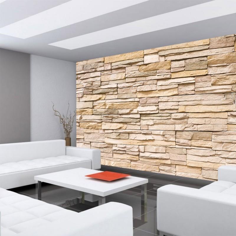 Fototapete Steinmauer Wohnzimmer