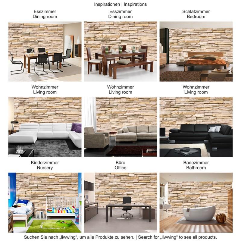 "Fototapete ""Asian Stone Wall"" | Steinwand Tapete Steinoptik Steine"