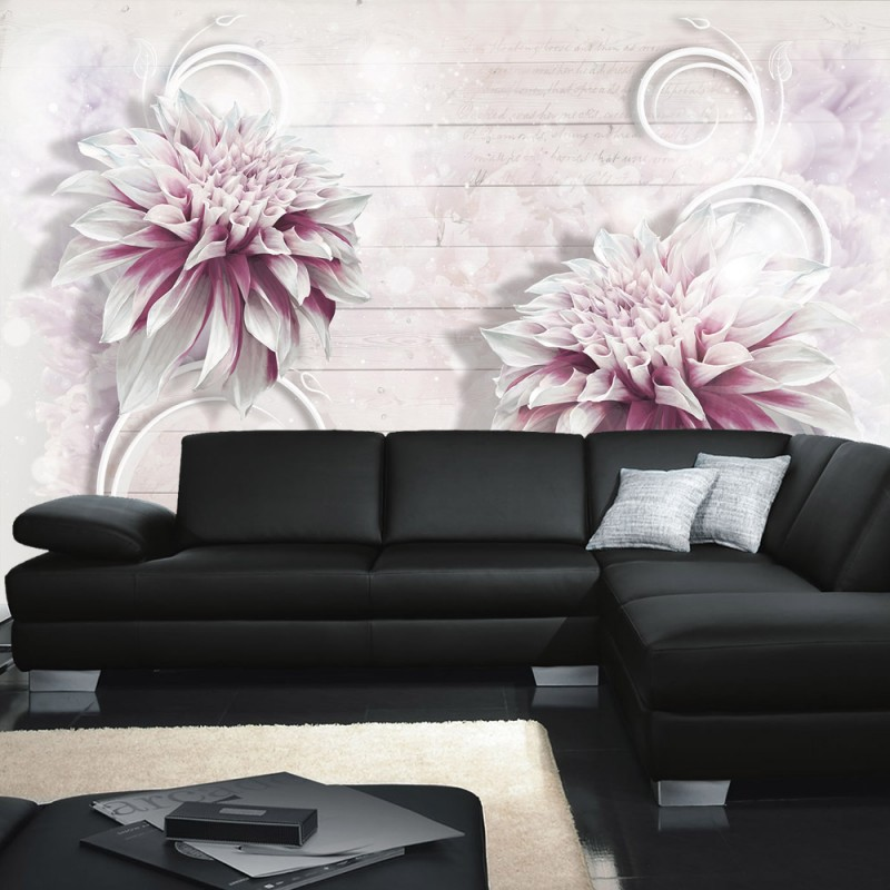 vlies fototapete no 990 blumen tapete holzwand ornamente blume bl te holzoptik pflanze wei. Black Bedroom Furniture Sets. Home Design Ideas