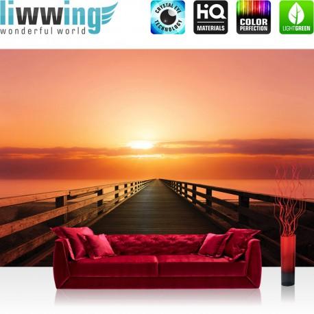 "Vlies Fototapete ""no. 993"" | Meer Tapete Sonnenuntergang Steg Brücke Holzweg Wolken Meer Ozean Himmel orange"