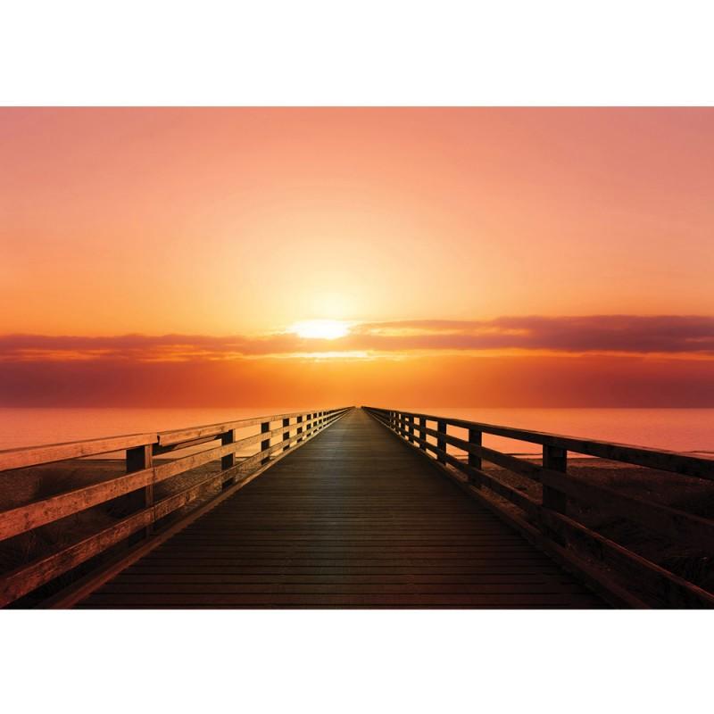 "Vlies Fototapete ""no. 993"" | Meer Tapete Sonnenuntergang Steg Brücke Holzweg Wolken Meer Ozean ..."
