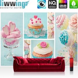 "Vlies Fototapete ""no. 411"" | Speisen Tapete Cupcake Herz Rose Marshmallow rosa"