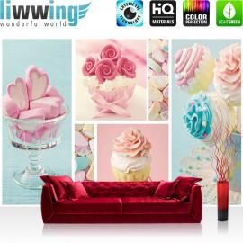 "Vlies Fototapete ""no. 412"" | Speisen Tapete Cupcake Herz Rose Marshmallow rosa blau"