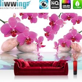 "Vlies Fototapete ""no. 413"" | Orchideen Tapete Steine Wasser Wellness rosa lila"
