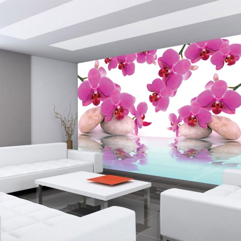 vlies fototapete no 413 orchideen tapete steine. Black Bedroom Furniture Sets. Home Design Ideas