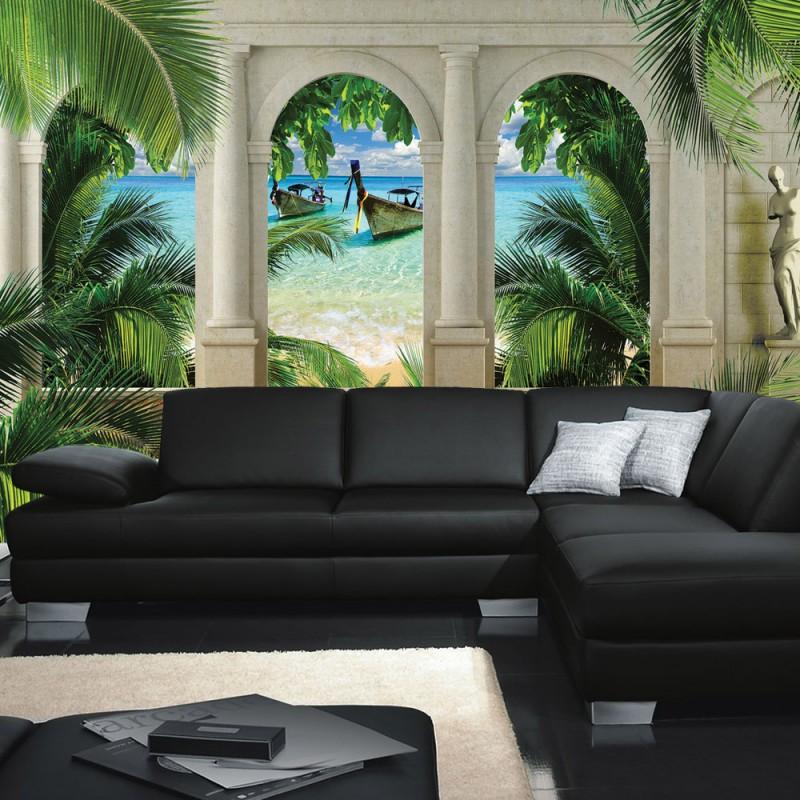 vlies fototapete no 414 meer tapete strand boot bogen. Black Bedroom Furniture Sets. Home Design Ideas