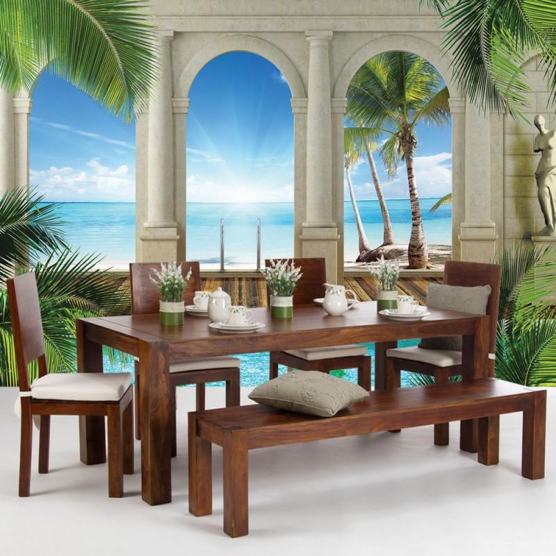 vlies fototapete no 415 meer tapete wasser sonnenaufgang himmel gr n blau. Black Bedroom Furniture Sets. Home Design Ideas