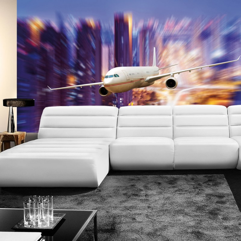 liwwing r vlies fototapete no 416 vliestapete flugzeug skyline lightning. Black Bedroom Furniture Sets. Home Design Ideas