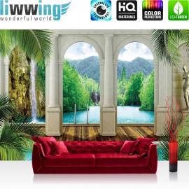 "Vlies Fototapete ""no. 417"" | Wasser Tapete Palme Wasserfall Bogen grün"