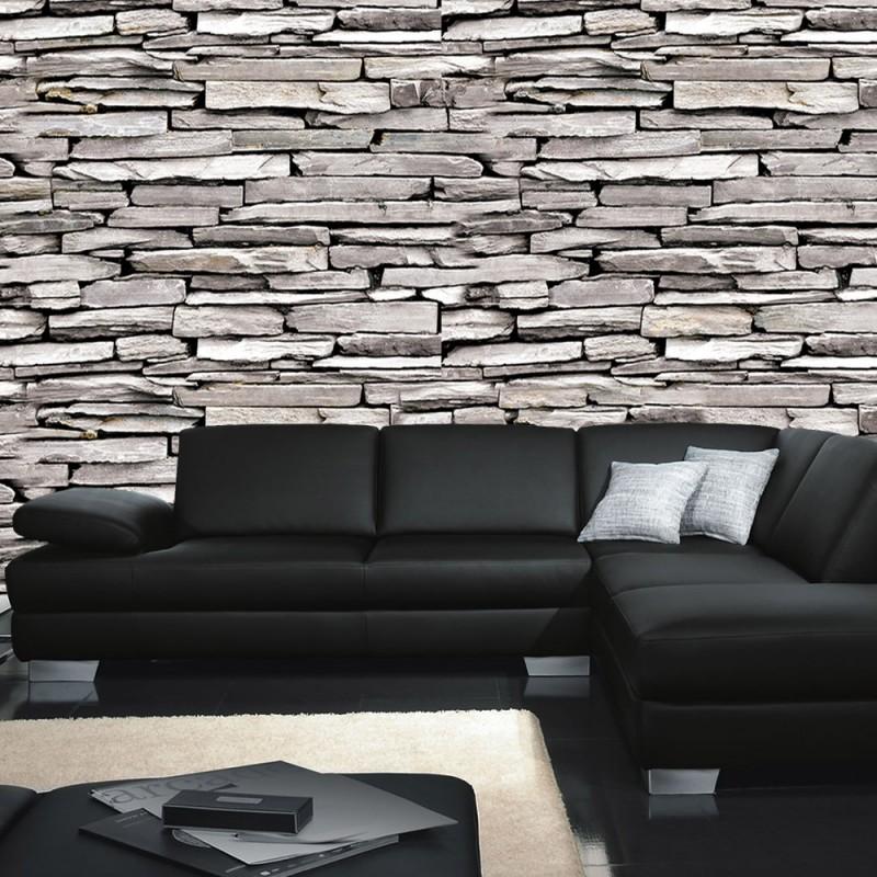 vlies fototapete no 424 steinwand tapete steine muster mauer grau grau. Black Bedroom Furniture Sets. Home Design Ideas