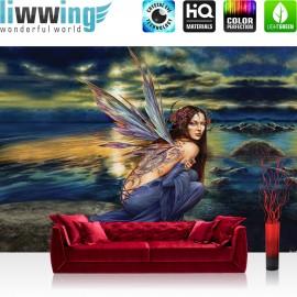 "Vlies Fototapete ""no. 445"" | Gemälde Tapete Alchemy Fantasia Fee Frau Wolken Tattoo Elbe blau | liwwing (R)"