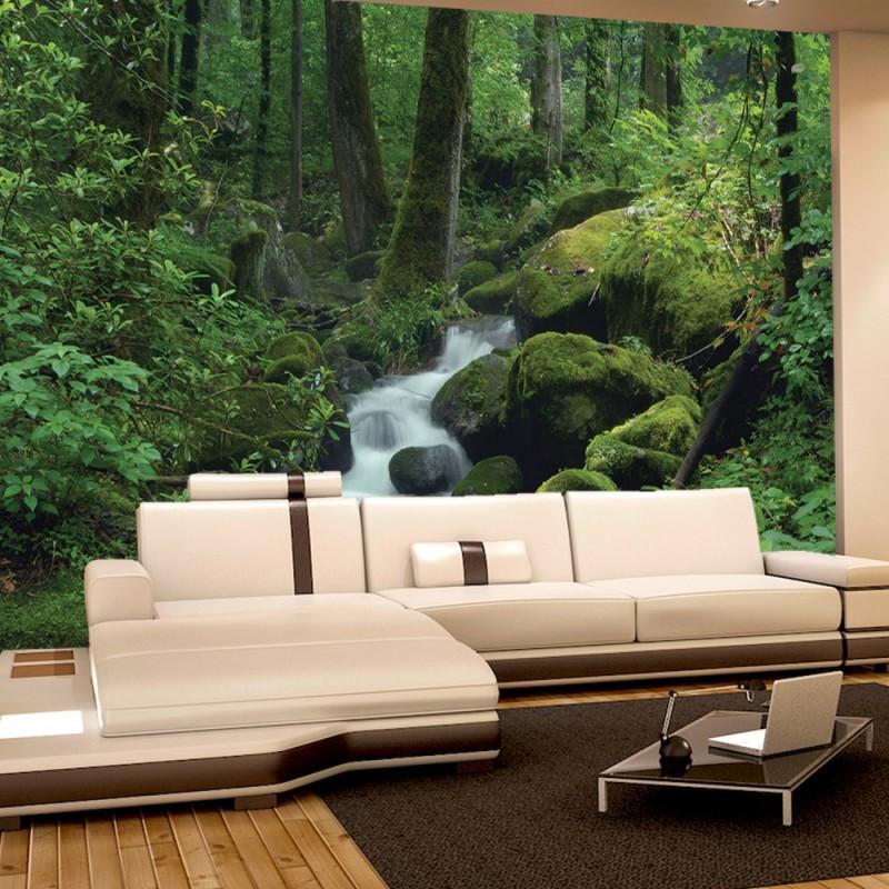 vlies fototapete no 446 wald tapete wasserfall wald. Black Bedroom Furniture Sets. Home Design Ideas