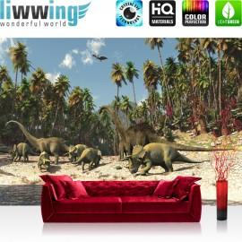 "Vlies Fototapete ""no. 447"" | Kindertapete Tapete Dinosaurier Strand Palmen Animation grün"